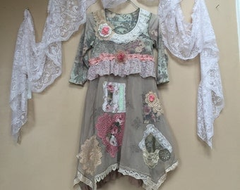 Upcycled Clothing , Pink Roses Floral Sage Green And Pink Vintage Lace Dress , Shabby Chic Romantic Dress