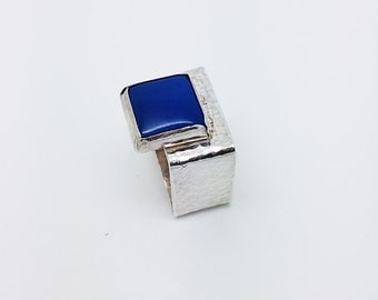 Mens Jewelry -  Square Sterling Silver with  Blue Agate - Handmade Jewelry Unisex Geometric Ring - By Amallias