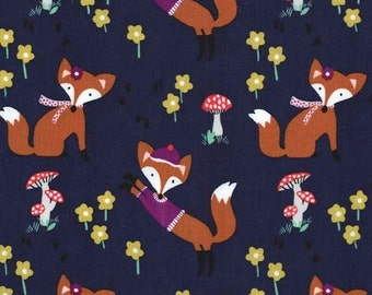 Michael Miller -Lil' Foxy in Navy - Fox Woods - By The Yard