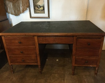 Rare Early 1940s SLATE TOP DESK great Storage generous Work Space and Drawing Pad!
