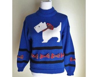 Blue Scottie Dog Bow Sweater