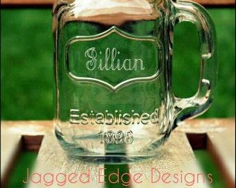 FLASH SALE: Custom Engraved Glass Mason Jar Mug - Engraving Included