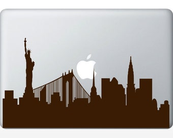 New York City Skyline laptop DECAL- macbook iPad computer- vinyl sticker NY hippie