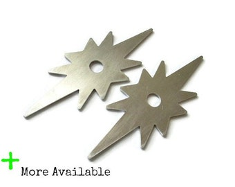 Pairs of Atomic Star Back Plates for knobs - Starburst MCM Backplates -solid aluminum - vintage style - 8 point