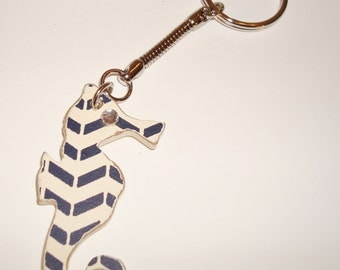 Black and White Seahorse Keychain