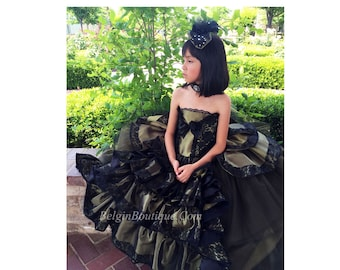 Pageant evening Gown Dress National Gown Victorian Steampunk Costplay Dress Army Patriotic Gown Custom 12m up to 10 yrs