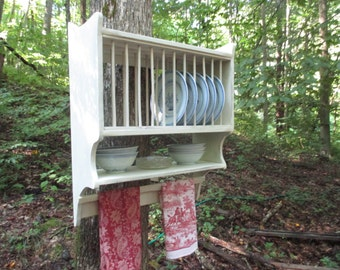 Farmhouse Plate Rack with Primitive Towel Rung, Hanging Plate Rack, Country Kitchen Wall Rack, Handmade