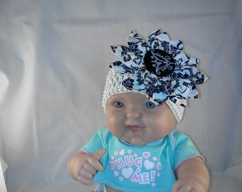 Infant stretch headband with flower accent