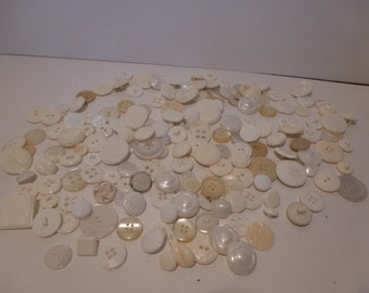 Vintage Bulk Lot of 150 White and Cream Buttons Self Shank MOP Glass Vintage Button Lot