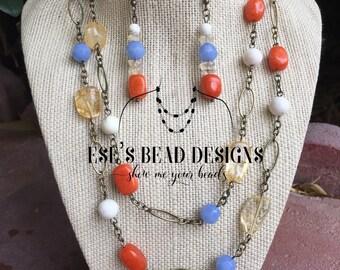 Long Antique Brass Chain Necklace Set