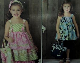 TIERED DRESS & BAG Pattern • Simplicity 2171 • Girls 3-8 • Ruffled Knee Pants • Headband • Tie Dress • Children's Patterns • WhiletheCatNaps
