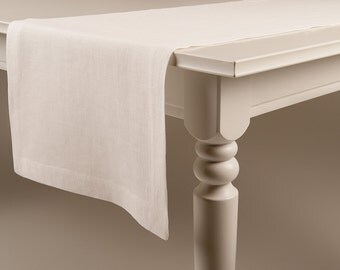 Table runner Off white linen table runners with deep hem mitered corners Classic table linens
