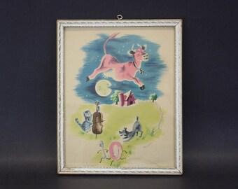 Vintage Cow Jumped Over the Moon' Nursery Rhyme Framed Art (E7245)