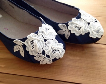 SALE Wedding shoes ballet flats navy low heel embellished with light ivory Venice lace - Ready to Ship Size 9.5
