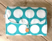 Travel Changing Pad - Diapering on the Go - Big dots on Turquoise