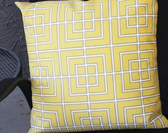 Pillow Covers 16 x 16 in Yellow Geometric Indoor/Outdoor