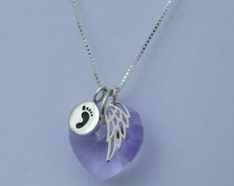 Miscarriage Jewelry - Lilac - Miscarry Jewelry - Miscarrige Necklace -Miscarriage Gift - Miscarry Gift-  June Birthstone - Angel -Child