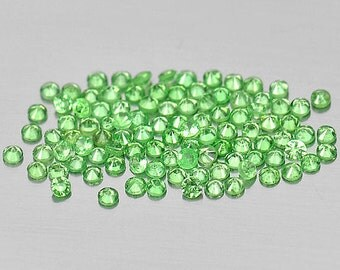 Light Lime Green Tsavorite Diamond Cut Faceted Rounds, Calibrated 2.5 MM , Price Per Each, Natural Gemstones