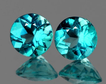 Paraiba Toned Blue Green Apatite, Perfectly Matched Faceted Rounds, 4 MM, Priced Per Pair, Natural Gemstones