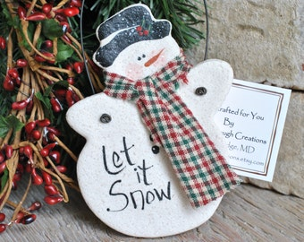 Let it Snow Snowman Salt Dough Christmas Ornament / Stocking Stuffer / Party Favor / Xmas Napkin Rings
