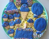 Birthday Dog Treat Platter - Puppy Shower Gift - Peanut Butter - Gourmet Treats for your Dog - Blue