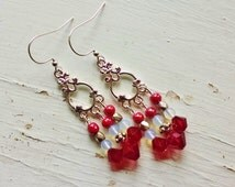 Red chandelier earrings, Silver chandelier earrings with red crystal, red pearl and opal