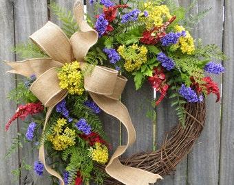 Wreath, Spring / Summer Wreath, Spring, Spring Wildflower Wreath, Door Wreath,Housewarming Gift ,Summer Wreath, Red Yellow Purple, Horn's
