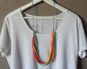 multicoloured, stranded necklace