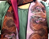 Horse - Silky faille scarf - Purple Horse with Flowing Mane -  women's fashion -  from original batik -