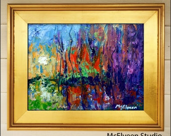 Radiant October  - Original Abstract Oil Painting Landscape Painting by Claire McElveen - Available  Framed Ready To Hang