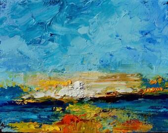 Harbor Sunrise Charleston , Original Oil Painting Landscape Painting by Claire McElveen 9 x 12