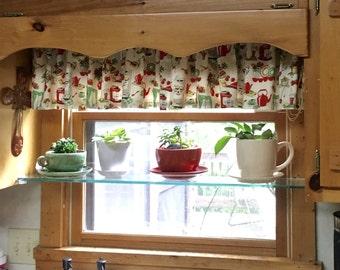 "Valance or Panel Cotton RETRO Kitchen STOVE PRINT  Print Window treatment 12"" 14"" 18"" 24"" 32"" Long, Custom"