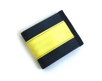 Men's Vegan Wallet - Yellow and Black Seatbelt Webbing - Velcro Wallet (SBW-V3)