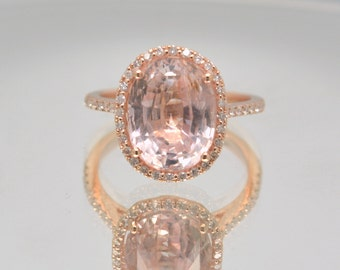 Certified untreated 7.65 carts Champagne Peach Sapphirerose rose gold engagement ring | sapphire engagement ring | SKU 2078 Catalin