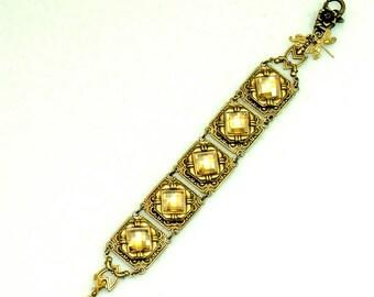 Vintage Victorian Steampunk Filigree Art Deco Golden Swarovski Faceted Crystal Bracelet