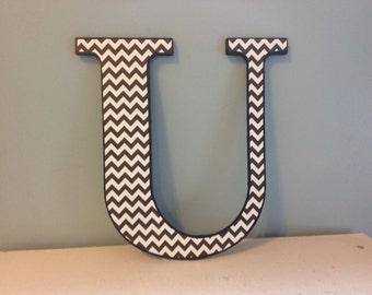 "Black and white chevron ""U"" wooden wall letter/wall decor/initial"