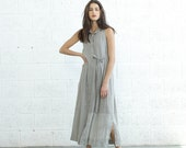 Summer SALE SALE! Pleated Maxi Dress With Tie front, Light Grey