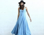 Valentines day Flare Maxi dress, light denim.