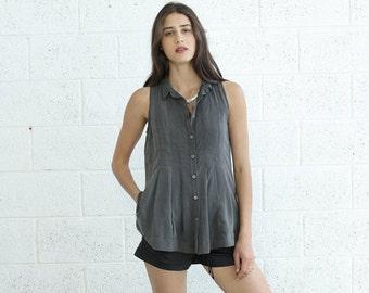 Summer SALE SALE! Pleated Tunic Top, Dark grey.