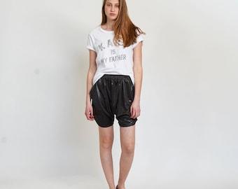 Metallic Drop Crotch Shorts, Dark Gray