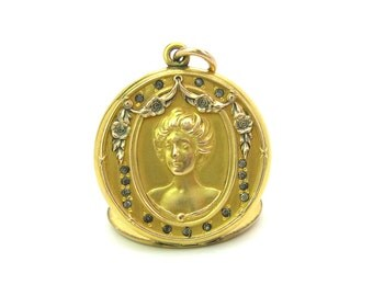 Victorian Locket. Picture Locket. Gold Filled Photo Pendant. Lady w/ Upswept Hair, Rose Garland, Paste. Antique C. 1900s Victorian Jewelry