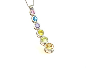 Pastel Crystal Pendant Necklace. Graduated, Sterling Silver. Fine Box chain. Vintage 1980s Modernist Rainbow Jewelry