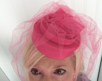 Vintage Hot Pink pill Box Hat Fascinator