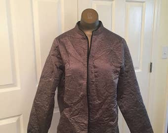 Laura Ashley gray quilted silk coat  70s or 89s  M