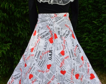 80s black, white and red newspaper and heart print 50s style skirt size S