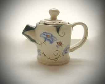 Teapot tiny bees morning glories white stoneware