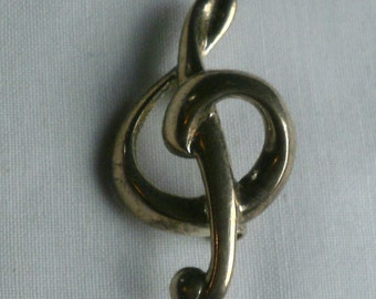 Sterling Silver Musical Note Brooch/Pin