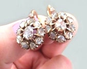 LARGE Antique Victorian 5CT Diamond Cluster Solid 15K Gold Earrings Rose Cut Flower