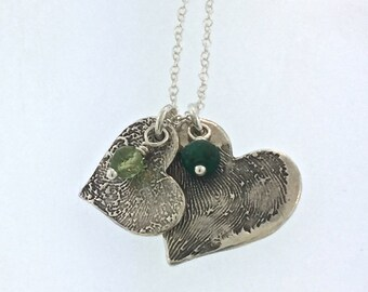 TWO FINGERPRINTS necklace with two birthstones, made from JPEG image of Fingerprint or Thumbprint, keepsake jewelry