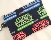 Star Wars Lightsaber and Logo Small Zippered Pouch, Notions Case, Coin Purse, Stocking Stuffer